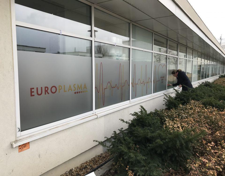 Samolepícíreklama.cz - pískované polepy pro EUROPLASMA Chodov
